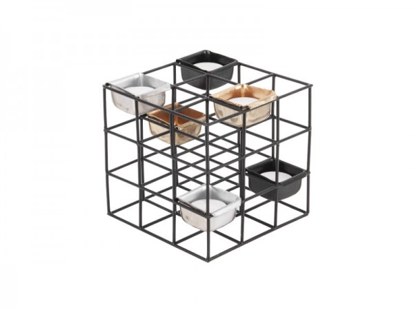 Teelichthalter Structure Quadrat