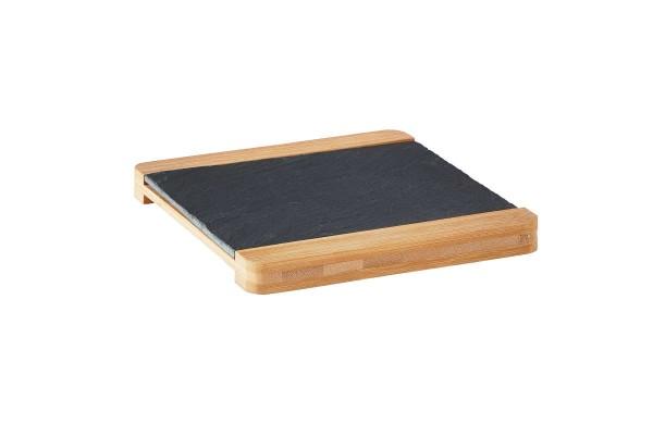 Galzone Schiefer-Servierplatte mit Bambusgestell