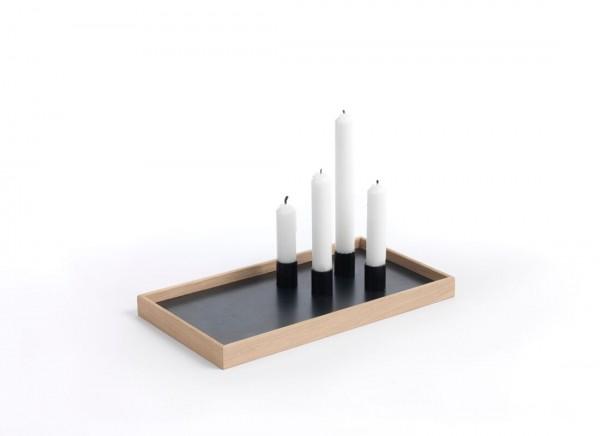 Kerzentablett Eiche Natur mit schwarzen Kerzenhaltern