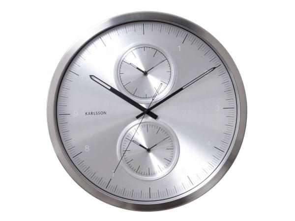 Karlsson - Multiple Time Wanduhr Silber